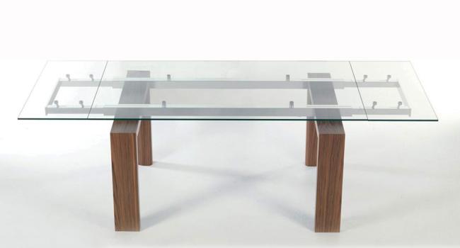 Vendita tavoli in cristallo trasparente con base in metallo - Tavolo trasparente allungabile ...