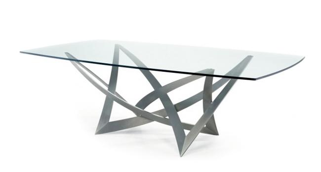 Vendita tavoli in cristallo trasparente con base in metallo - Tavolo ferro battuto e vetro ...