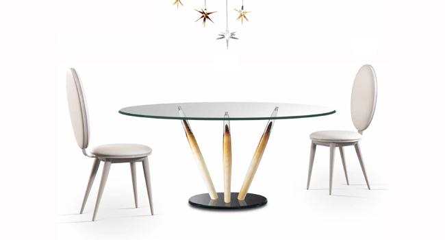 Tavoli Cristallo Allungabili Reflex.Vendita Tavoli In Cristallo Trasparente Con Base In Metallo