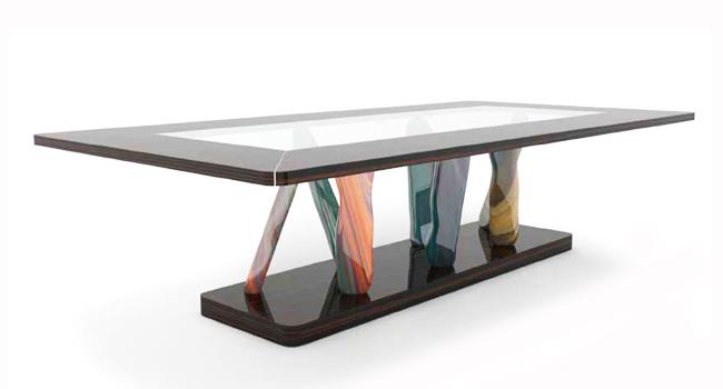 Base Per Tavolo Cristallo.Vendita Tavoli In Cristallo Trasparente Con Base In Metallo